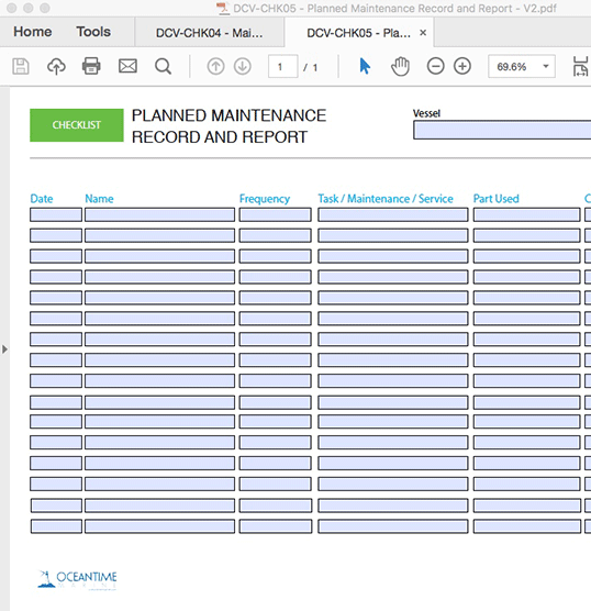Planned Maintenance Record and Report - INTERACTIVE PDF FORM