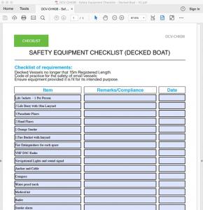 safety checklists for vessels 8 24m ocean time marine. Black Bedroom Furniture Sets. Home Design Ideas