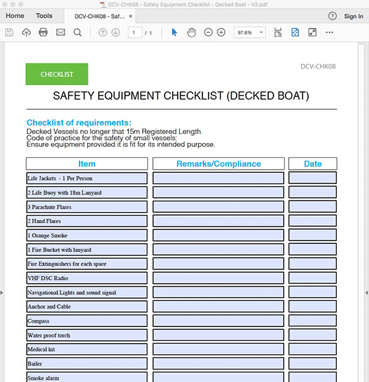 Safety Equipment Checklist - Decked Boat - INTERACTIVE PDF FORM