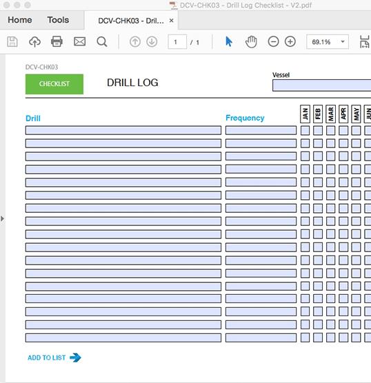 Drill Log Checklist - INTERACTIVE PDF FORM