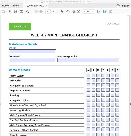 Weekly Maintenance Checklist - INTERACTIVE PDF FORM