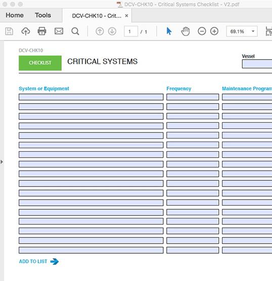 Critical Systems Checklist - INTERACTIVE PDF FORM