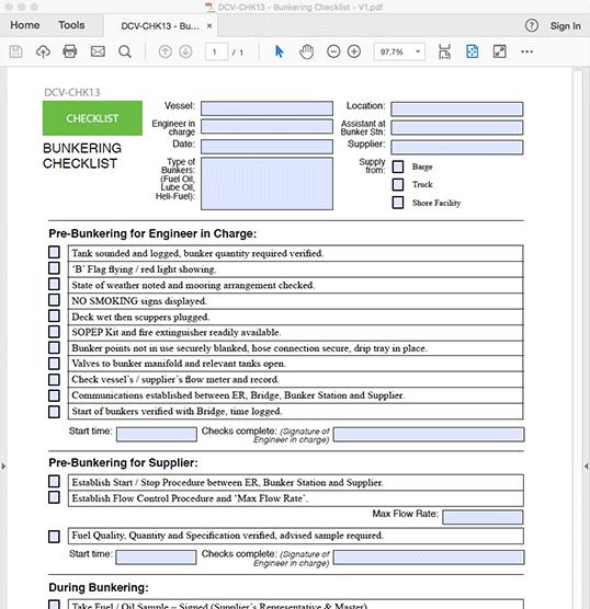 Bunkering Checklist - INTERACTIVE PDF FORM