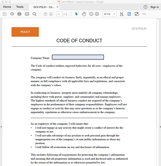 Code of Conduct Policy - INTERACTIVE PDF