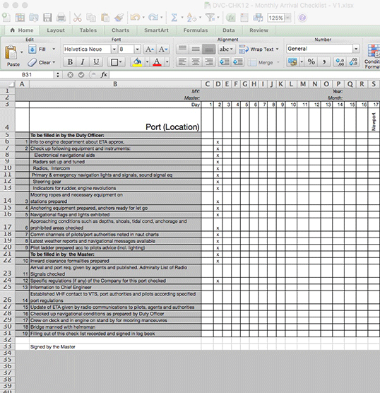 Monthly Arrival Checklist - MS EXCEL