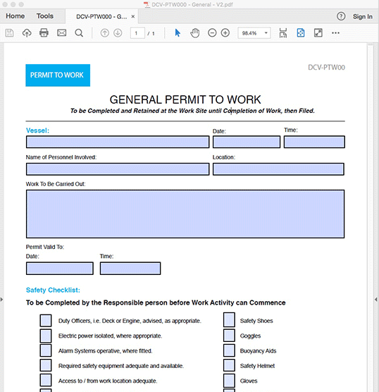 General Permit to Work - Interactive PDF