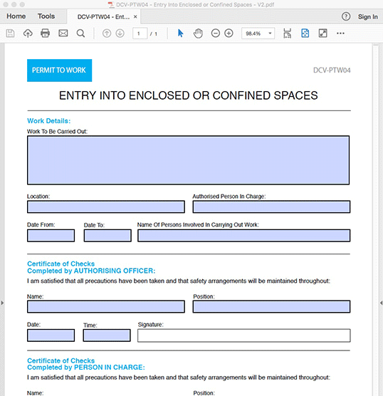 Entry into Enclosed or Confined Spaces - Interactive PDF